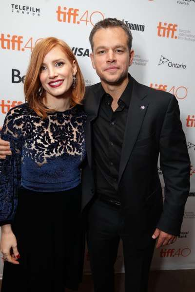 Jessica Chastain and Matt Damon seen at Twentieth Century Fox 'The Martian' Premiere Gala at the 2015 Toronto International Film Festival on Friday, September 11, 2015 in Toronto, CAN. (Photo by Eric Charbonneau/Invision for Twentieth Century Fox/AP Images)