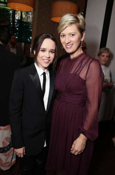 Ellen Page and Producer Kelly Bush Novak at the Vanity Fair toast of FREEHELD at TIFF 2015 presented by Hugo Boss and supported by Jaeger-LeCoultre on Sunday, September 13, 2015, in Toronto, Canada. (Photo by Eric Charbonneau/Invision for Lionsgate/AP Images)