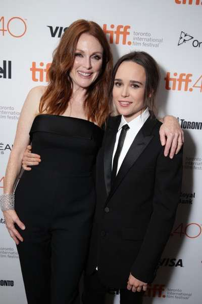 EXCLUSIVE - Julianne Moore and Ellen Page at the Lionsgate 'Freeheld' Premiere at 2015 Toronto International Film Festival on Sunday, September 13, 2015, in Toronto, Canada. (Photo by Eric Charbonneau/Invision for Lionsgate/AP Images)