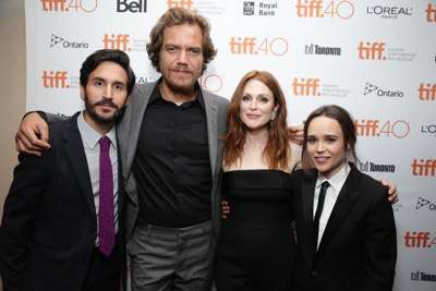 EXCLUSIVE - Director Peter Sollett, Michael Shannon, Julianne Moore and Ellen Page at the Lionsgate 'Freeheld' Premiere at 2015 Toronto International Film Festival on Sunday, September 13, 2015, in Toronto, Canada. (Photo by Eric Charbonneau/Invision for Lionsgate/AP Images)
