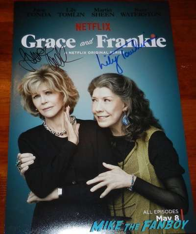 jane fonda lily tomlin signed grace and frankie poster autograph