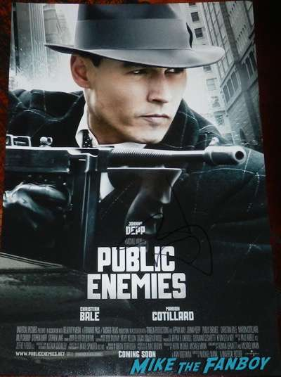 johnny depp signed autograph public enemies  mini poster