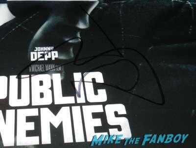 johnny depp signed autograph public enemies  mini poster