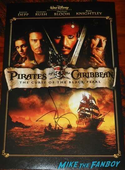 johnny depp signed autograph pirates of the Caribbean mini poster