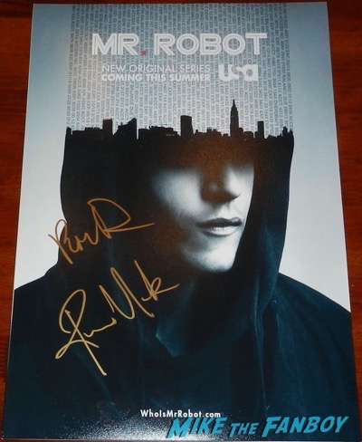 rami Malek signed autograph mr robot poster