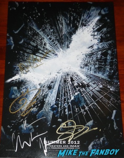 tom hardy gary oldman christian bale signed dark knight rises poster
