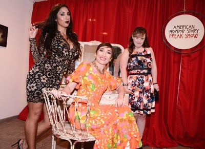 From left to right, actress Liana Mendoza, actress Naomi Grossman, and actress Jamie Brewer seen at the opening night of an American Horror Story-inspired fan art exhibition at the Hero Complex Gallery in Los Angeles on Friday, Oct. 2, 2015. The pop art exhibition, which runs through Oct. 18, features more than 100 originals, prints and sculptures. American Horror Story: Freak Show will be released on Blu-ray and DVD on Oct. 6.  (Photo by Dan Steinberg/Invision for Twentieth Century Fox Home EntertainmentAP Images)