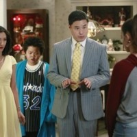 """TV STILL -- DO NOT PURGE -- FRESH OFF THE BOAT - ABC's """"Fresh Off the Boat"""" stars Forrest Wheeler as Emery, Ian Chen as Evan, Hudson Yang as Eddie, Constance Wu as Jessica and Randall Park as Louis. (ABC/Bob D'Amico)"""