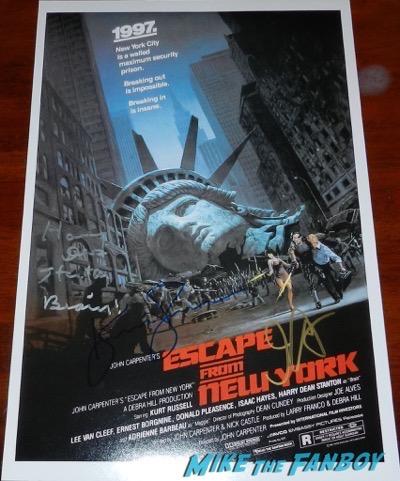 John Carpetner escape from new york signed poster kurt russell