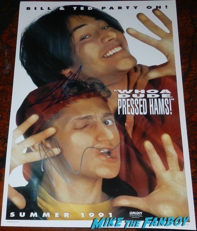 Bill and Ted's Bogus Journey poster signed by Keanu reeves alex winter