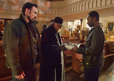 "THE STRAIN -- ""Night Train"" -- Episode 213 (Airs October 4, 10:00 pm e/p) Pictured: (l-r) Kevin Durand as Vasiliy Fet, David Bradley as Abraham Setrakian, Jamie Hector as Alonso Creem. CR: Michael Gibson/FX"