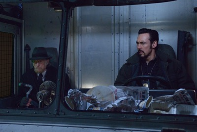 "THE STRAIN -- ""Night Train"" -- Episode 213 (Airs October 4, 10:00 pm e/p) Pictured: (l-r) David Bradley as Abraham Setrakian, Kevin Durand as Vasiliy Fet."
