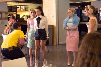 "SCREAM QUEENS: Pictured L-R: Emma Roberts as Chanel Oberlin, Lea Michele as Hester, Abigail Breslin as Chanel #5 and Billie Lourd as Chanel #3 in the ""Haunted House"" episode of SCREAM QUEENS airing Tuesday, Oct. 6 (9:00-10:00 PM ET/PT) on FOX. ©2015 Fox Broadcasting Co. Cr: Hilary Gayle/FOX."