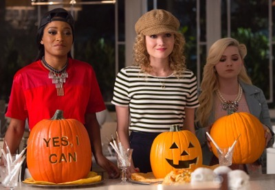"SCREAM QUEENS: Pictured L-R: Keke Palmer as Zayday, Skyler Samuels as Grace and Abigail Breslin as Chanel #5 in the ""Haunted House"" episode of SCREAM QUEENS airing Tuesday, Oct. 6 (9:00-10:00 PM ET/PT) on FOX. ©2015 Fox Broadcasting Co. Cr: Hilary Gayle/FOX."