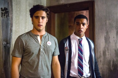 "SCREAM QUEENS: Pictured L-R: Diego Boneta as Pete and Lucien Laviscount as Earl Grey in the ""Haunted House"" episode of SCREAM QUEENS airing Tuesday, Oct. 6 (9:00-10:00 PM ET/PT) on FOX. ©2015 Fox Broadcasting Co. Cr: Skip Bolen/FOX."