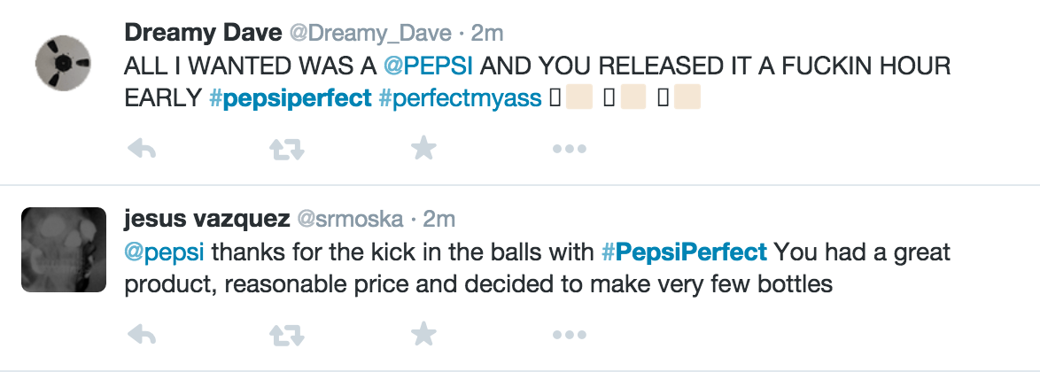 Pepsi Perfect Nasty Tweet