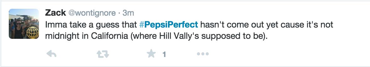 Pepsi Perfect Nasty Tweet