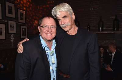 HOLLYWOOD, CA - NOVEMBER 17:  Executive John Lasseter (L) and actor Sam Elliott attend the World Premiere Of Disney-Pixar's THE GOOD DINOSAUR at the El Capitan Theatre on November 17, 2015 in Hollywood, California.  (Photo by Alberto E. Rodriguez/Getty Images for Disney) *** Local Caption *** John Lasseter; Sam Elliott