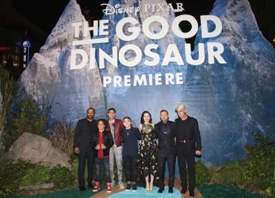 HOLLYWOOD, CA - NOVEMBER 17: Actors Jeffrey Wright, Jack Bright, Marcus Scribner, Raymond Ochoa, Anna Paquin, A.J. Buckley, and Sam Elliott attend the World Premiere Of Disney-Pixar's THE GOOD DINOSAUR at the El Capitan Theatre on November 17, 2015 in Hollywood, California.  (Photo by Jesse Grant/Getty Images for Disney) *** Local Caption *** Jeffrey Wright; Raymond Ochoa; Sam Elliott; Jack Bright; Marcus Scribner; Anna Paquin; A.J. Buckley