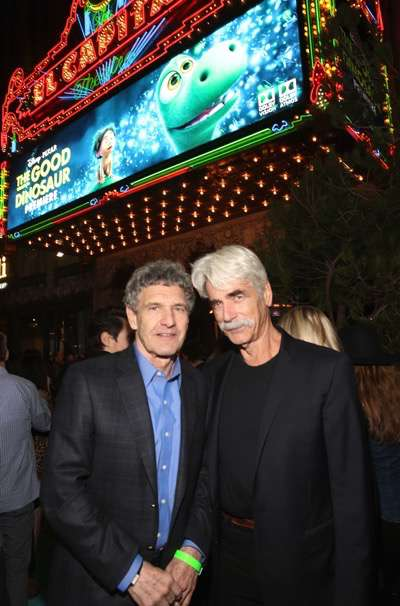HOLLYWOOD, CA - NOVEMBER 17: Chairman of the Walt Disney Studios Alan Horn (L) and actor Sam Elliott attend the World Premiere Of Disney-Pixar's THE GOOD DINOSAUR at the El Capitan Theatre on November 17, 2015 in Hollywood, California.  (Photo by Jesse Grant/Getty Images for Disney) *** Local Caption *** Alan Horn; Sam Elliott