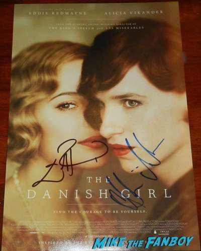 alicia vikander eddie redmayne signed autograph the danish girl poster