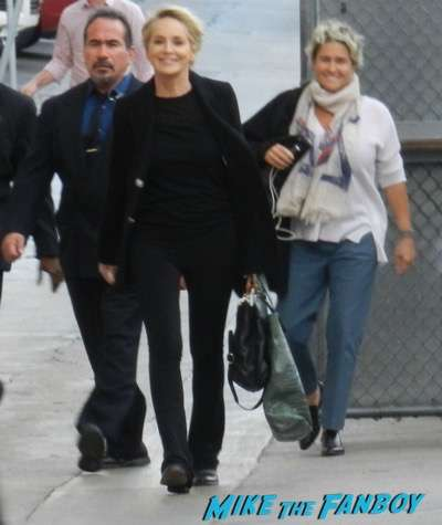 sharon stone arriving to jimmy kimmel live 2015