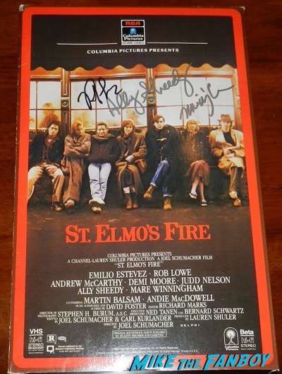 Rob Lowe signed st. elmos fire oversize VHS box standee