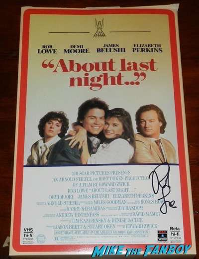 Rob Lowe signed about last night... oversize VHS box standee