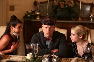 "SCREAM QUEENS: L-R: Lea Michele, Glen Powell and Emma Roberts in the ""Thanksgiving"" episode of SCREAM QUEENS airing Tuesday, Nov. 24 (9:00-10:00 PM ET/PT) on FOX. ©2015 Fox Broadcasting Co. Cr: Patti Perret/FOX."