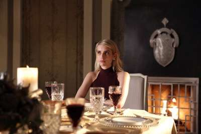 "SCREAM QUEENS: Emma Roberts in the ""Thanksgiving"" episode of SCREAM QUEENS airing Tuesday, Nov. 24 (9:00-10:00 PM ET/PT) on FOX. ©2015 Fox Broadcasting Co. Cr: Patti Perret/FOX."