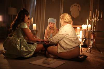 "SCREAM QUEENS: L-R: Lea Michele, Billie Lourd, Emma Roberts and Abigail Breslin in the ""Beware Of Young Girls"" episode of SCREAM QUEENS airing Tuesday, Nov. 3 (9:00-10:00 PM ET/PT) on FOX. ©2015 Fox Broadcasting Co. Cr: Patti Perret/FOX."