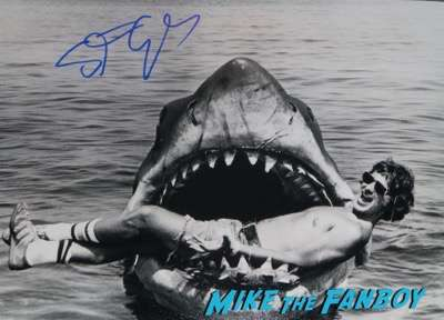 Steven Spielberg signed autograph jaws photo behind the scene