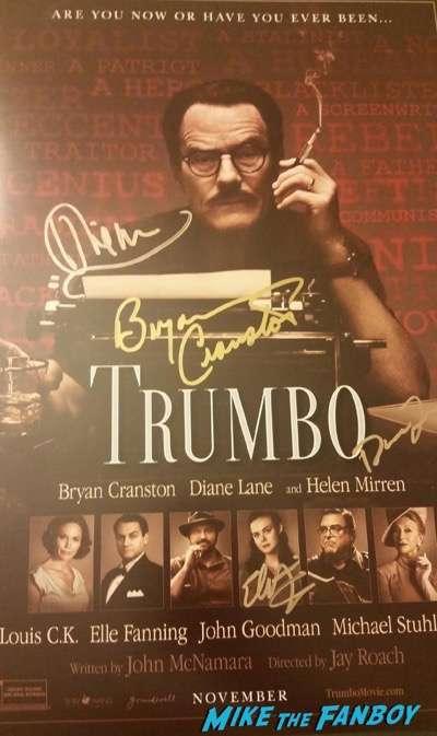Trumbo signed autograph poster elle fanning bryan cranston helen mirren diane lane