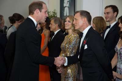 October 26, 2015 - London, England: Daniel Craig (right) and Léa Seydoux greet Prince William, Duke of Cambridge (left) at the Royal World Premiere of SPECTRE at Royal Albert Hall.