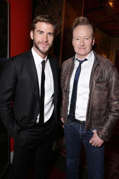 Exclusive - Liam Hemsworth and Conan O'Brien seen at The Hunger Games: Mockingjay Part 2 cast Hand and footprint ceremony at Hollywood Blvd. on Saturday, October 31, 2015, in Los Angeles, CA. (Photo by Eric Charbonneau/Invision for Lionsgate/AP Images)