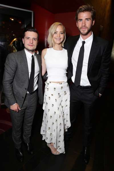 Exclusive - Josh Hutcherson, Jennifer Lawrence and Liam Hemsworth seen at The Hunger Games: Mockingjay Part 2 cast Hand and footprint ceremony at Hollywood Blvd. on Saturday, October 31, 2015, in Los Angeles, CA. (Photo by Eric Charbonneau/Invision for Lionsgate/AP Images)