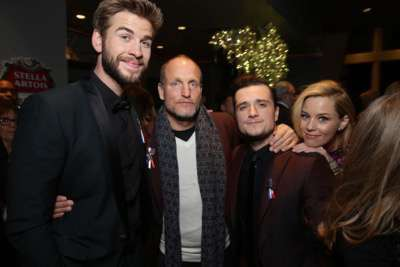 Exclusive - Liam Hemsworth, Woody Harrelson, Josh Hutcherson and Elizabeth Banks seen at Los Angeles Premiere of Lionsgate's 'The Hunger Games: Mockingjay - Part 2' on Monday, November 16, 2015, in Los Angeles, CA. (Photo by Eric Charbonneau/Invision for Lionsgate/AP Images)