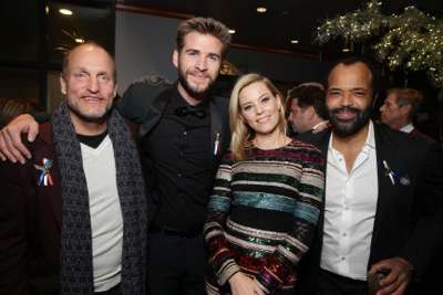 Exclusive - Woody Harrelson, Liam Hemsworth, Elizabeth Banks and Jeffrey Wright seen at Los Angeles Premiere of Lionsgate's 'The Hunger Games: Mockingjay - Part 2' on Monday, November 16, 2015, in Los Angeles, CA. (Photo by Eric Charbonneau/Invision for Lionsgate/AP Images)