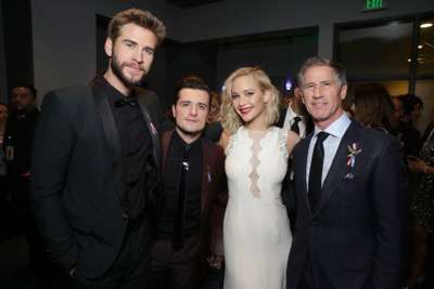 Exclusive - Liam Hemsworth, Josh Hutcherson, Jennifer Lawrence and Jon Feltheimer, Chief Executive Officer of Lionsgate, seen at Los Angeles Premiere of Lionsgate's 'The Hunger Games: Mockingjay - Part 2' on Monday, November 16, 2015, in Los Angeles, CA. (Photo by Eric Charbonneau/Invision for Lionsgate/AP Images)