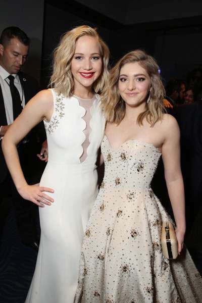 Exclusive - Jennifer Lawrence and Willow Shields seen at Los Angeles Premiere of Lionsgate's 'The Hunger Games: Mockingjay - Part 2' on Monday, November 16, 2015, in Los Angeles, CA. (Photo by Eric Charbonneau/Invision for Lionsgate/AP Images)
