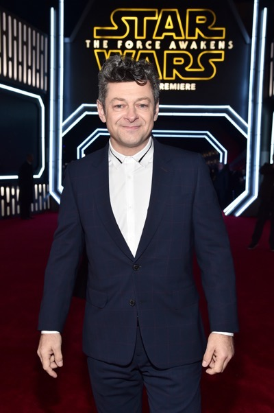 HOLLYWOOD, CA - DECEMBER 14:  Actor Andy Serkis attends the World Premiere of ?Star Wars: The Force Awakens? at the Dolby, El Capitan, and TCL Theatres on December 14, 2015 in Hollywood, California.  (Photo by Alberto E. Rodriguez/Getty Images for Disney) *** Local Caption *** Andy Serkis