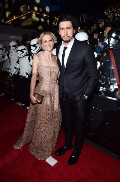 HOLLYWOOD, CA - DECEMBER 14: Actors Joanne Tucker (L) and Adam Driver attend the World Premiere of ?Star Wars: The Force Awakens? at the Dolby, El Capitan, and TCL Theatres on December 14, 2015 in Hollywood, California.  (Photo by Alberto E. Rodriguez/Getty Images for Disney) *** Local Caption *** Adam Driver;Joanne Tucker