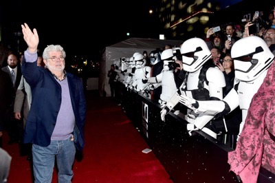 HOLLYWOOD, CA - DECEMBER 14:  Director George Lucas attends the World Premiere of ?Star Wars: The Force Awakens? at the Dolby, El Capitan, and TCL Theatres on December 14, 2015 in Hollywood, California.  (Photo by Alberto E. Rodriguez/Getty Images for Disney) *** Local Caption *** George Lucas