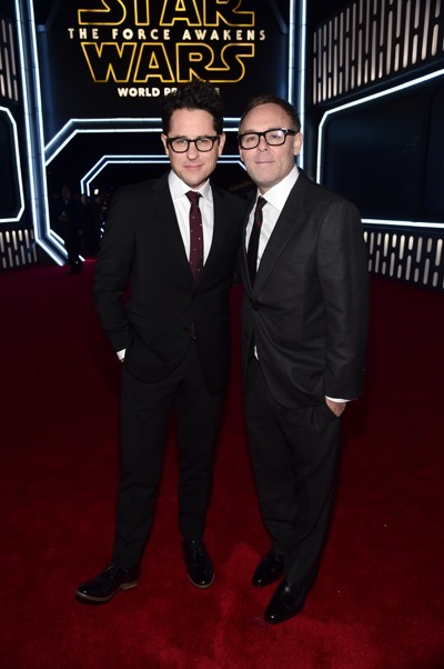 HOLLYWOOD, CA - DECEMBER 14:  Director J.J. Abrams (L) and producer Bryan Burk attend the World Premiere of ?Star Wars: The Force Awakens? at the Dolby, El Capitan, and TCL Theatres on December 14, 2015 in Hollywood, California.  (Photo by Alberto E. Rodriguez/Getty Images for Disney) *** Local Caption *** J.J. Abrams;Bryan Burk