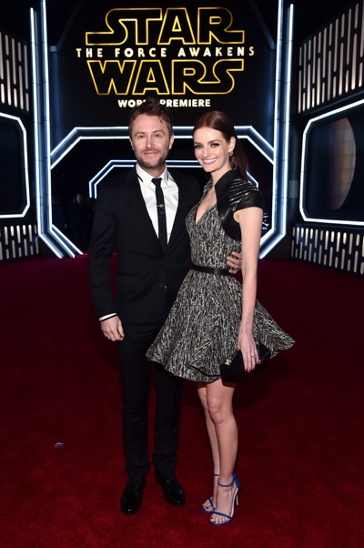 HOLLYWOOD, CA - DECEMBER 14:  Comedian Chris Hardwick (L) and model Lydia Hearst attend the World Premiere of ?Star Wars: The Force Awakens? at the Dolby, El Capitan, and TCL Theatres on December 14, 2015 in Hollywood, California.  (Photo by Alberto E. Rodriguez/Getty Images for Disney) *** Local Caption *** Chris Hardwick;Lydia Hearst