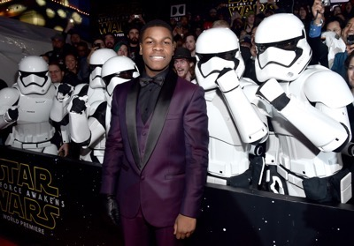 HOLLYWOOD, CA - DECEMBER 14: Actor John Boyega attends the World Premiere of ?Star Wars: The Force Awakens? at the Dolby, El Capitan, and TCL Theatres on December 14, 2015 in Hollywood, California.  (Photo by Alberto E. Rodriguez/Getty Images for Disney) *** Local Caption *** John Boyega