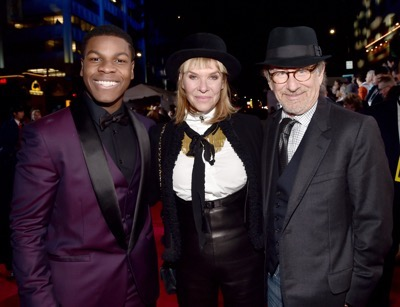 HOLLYWOOD, CA - DECEMBER 14:  (L-R) Actors John Boyega, Kate Capshaw and director Steven Spielberg attend the World Premiere of ?Star Wars: The Force Awakens? at the Dolby, El Capitan, and TCL Theatres on December 14, 2015 in Hollywood, California.  (Photo by Alberto E. Rodriguez/Getty Images for Disney) *** Local Caption *** John Boyega;Kate Capshaw;Steven Spielberg