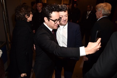 HOLLYWOOD, CA - DECEMBER 14:  Director J.J. Abrams (L) and actor Andy Serkis attend the World Premiere of ?Star Wars: The Force Awakens? at the Dolby, El Capitan, and TCL Theatres on December 14, 2015 in Hollywood, California.  (Photo by Alberto E. Rodriguez/Getty Images for Disney) *** Local Caption *** J.J. Abrams;Andy Serkis