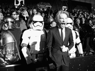 HOLLYWOOD, CA - DECEMBER 14: (EDITORS NOTE: Image has been shot in black and white. Color version not available.) Actor Domhnall Gleeson attends the World Premiere of ?Star Wars: The Force Awakens? at the Dolby, El Capitan, and TCL Theatres on December 14, 2015 in Hollywood, California.  (Photo by Charley Gallay/Getty Images for Disney) *** Local Caption *** Domhnall Gleeson