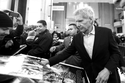HOLLYWOOD, CA - DECEMBER 14:  (EDITORS NOTE: Image has been shot in black and white. Color version not available.) Actor Harrison Ford (R) attends the World Premiere of ?Star Wars: The Force Awakens? at the Dolby, El Capitan, and TCL Theatres on December 14, 2015 in Hollywood, California.  (Photo by Charley Gallay/Getty Images for Disney) *** Local Caption *** Harrison Ford